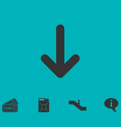 Down arrow icon flat vector