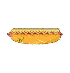 drawing hot dog food image vector image