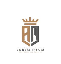 elegant wordmark am initial shield crown logo vector image