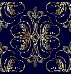 embroidery style 3d baroque seamless pattern vector image
