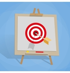 Flip chart with target and arrow vector image