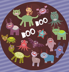 Funny frightening monsters on purple striped vector