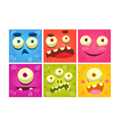 Funny monster faces set colorful square emojis vector
