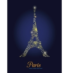Golden Floral Lace Glowing Eiffel Tower vector