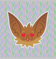 halloween bat smiley head with hearts in eyes in vector image
