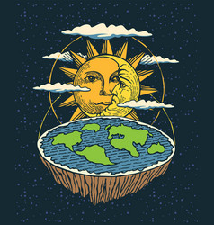 Hand-drawn flat earth in space with sun and moon vector
