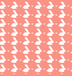 happy easter seamless pattern with white rabbits vector image