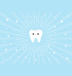 Healthy white tooth icon with happy smiling face vector