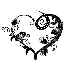 Heart with flourishes black vector