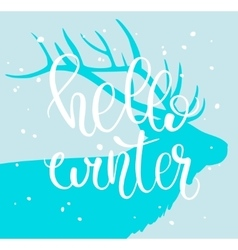Hello Winter Brush lettering composition with vector