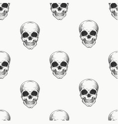human scull seamless pattern hand drawn skeleton vector image