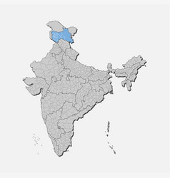 India country map jammu and kashmir state template vector