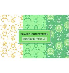Islamic icon pattern muslim man woman hijab holy vector