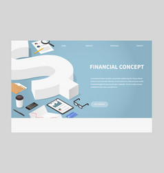 Isometric financial landing page concept vector