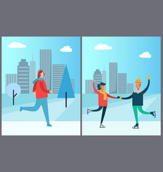 Jogger running on background of skyscraper couple vector