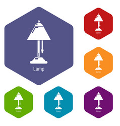 lamp icons hexahedron vector image