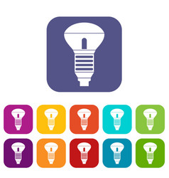 Led bulb icons set vector