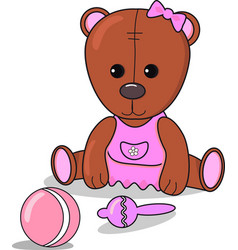 little teddy bear with beanbag ball baby vector image