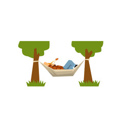 male farmer lying in a hammock hammock hanging vector image