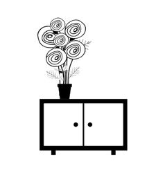 monochrome cabinet with pot and flowers vector image