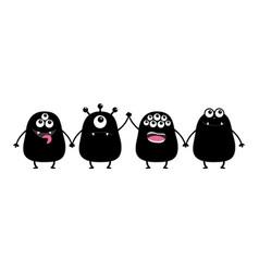 monster set holding hands cute cartoon black vector image