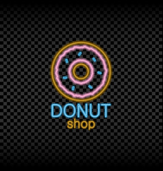 neon light sign donut shop vector image