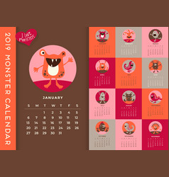 New 2019 calendar with monsters vector