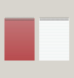 notepad with a red cover and with a binding vector image