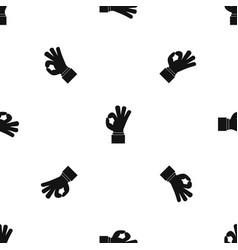 ok gesture pattern seamless black vector image