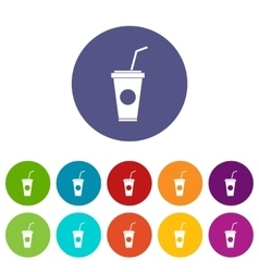 Paper cup with straw set icons vector image