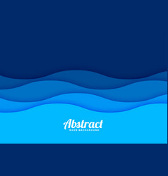Papercut style sea wave pattern background vector