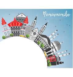Paramaribo skyline with gray buildings blue sky vector