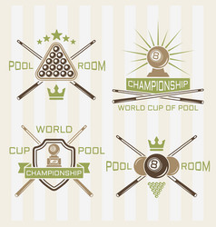 pool room or billiards club colored labels vector image