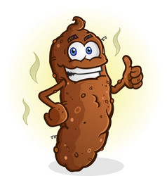 poop thumbs up cartoon character vector image