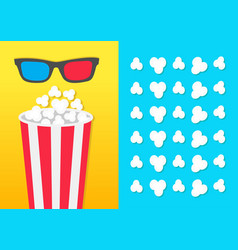Popcorn round bucket box 3d red blue glasses vector
