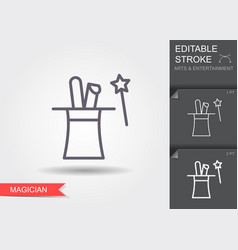 rabbit ears in magic hat line icon with editable vector image