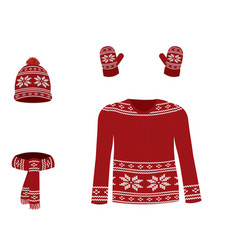 red winter knitted set vector image