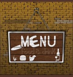 restaurant menu old brick wall wood sheet vector image
