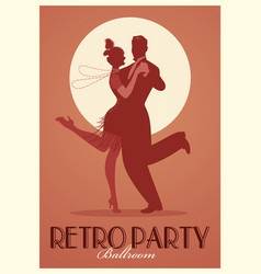 Retro party poster silhouettes couple wearing vector