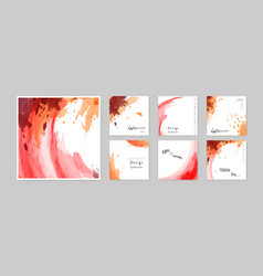 set hand-painted watercolor card square layouts vector image