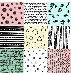 set of abstract seamless patterns of lines vector image