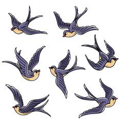 Set of flying swallows free birdssymbol of luck vector