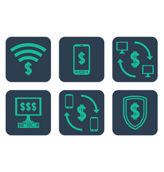 set of icons about online payments with cifrao vector image