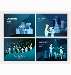 set of landing page template or greeting card vector image