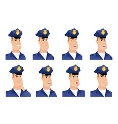 Set of policeman characters vector