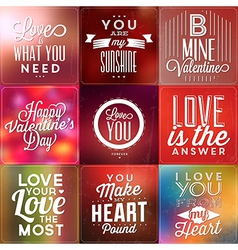 Set Of Typographic Valentines Day Backgrounds vector