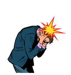 Severe headache man clasped his head vector