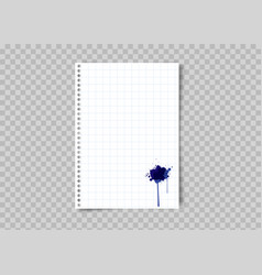 sheet squared paper with blue ink stain vector image