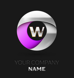 Silver letter w logo in the silver-purple circle vector