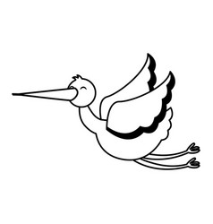 stork flying isolated icon vector image